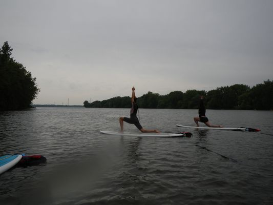 another SUP yoga pose in Montreal