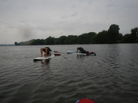 finishing SUP yoga in Montreal with Josie
