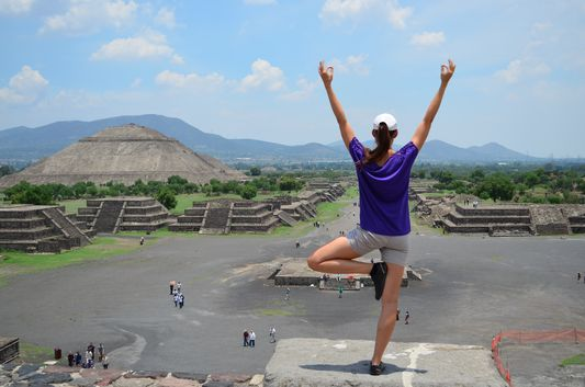 tree pose at Teotihuacan Mexico