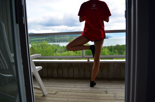 tree pose in Charlevoix Canada