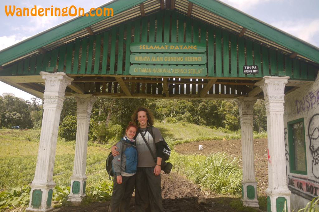 Brian and Noelle after hiking to the top of Indonesia's tallest volcano, Mount Kerinci in Sumatra.