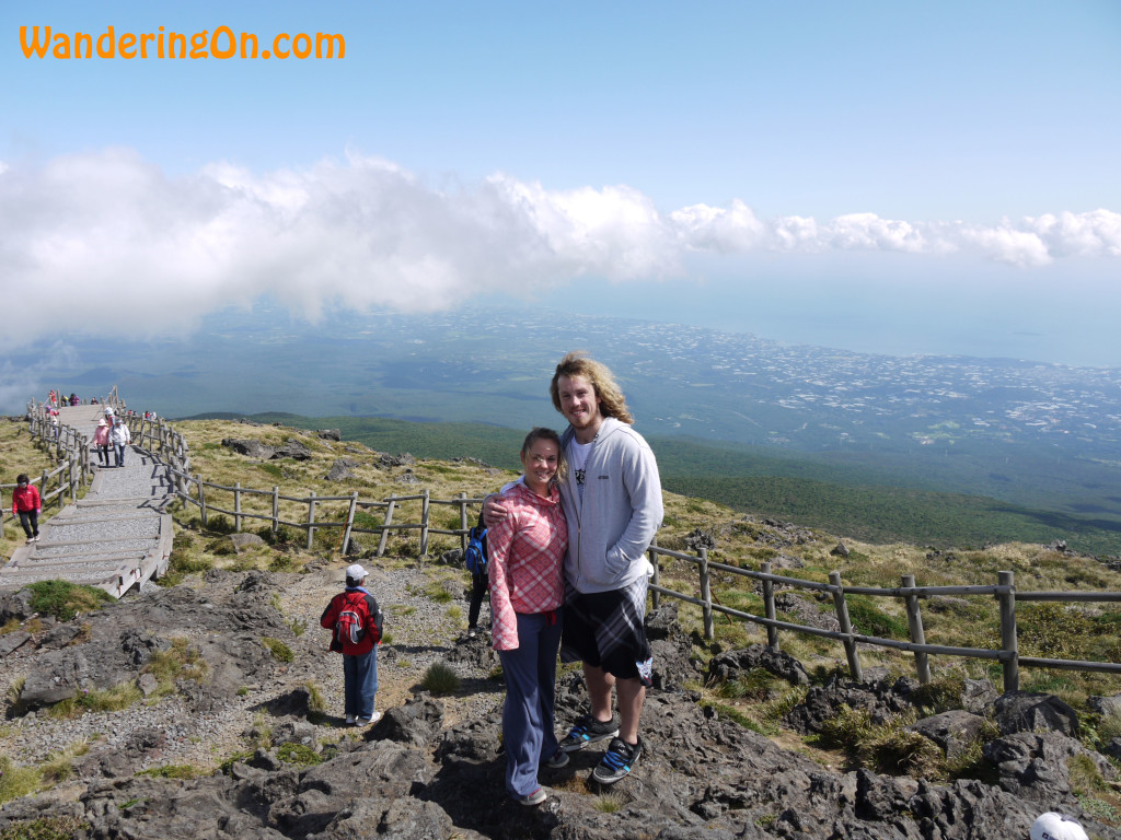 Brian and Noelle at the summit of Hallasan, South Korea's Highest mountain, located on Jeju Island, South Korea