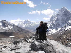 Brian and Noelle at the top of the Cho La Pass during the Everest Base Camp trek, Nepal